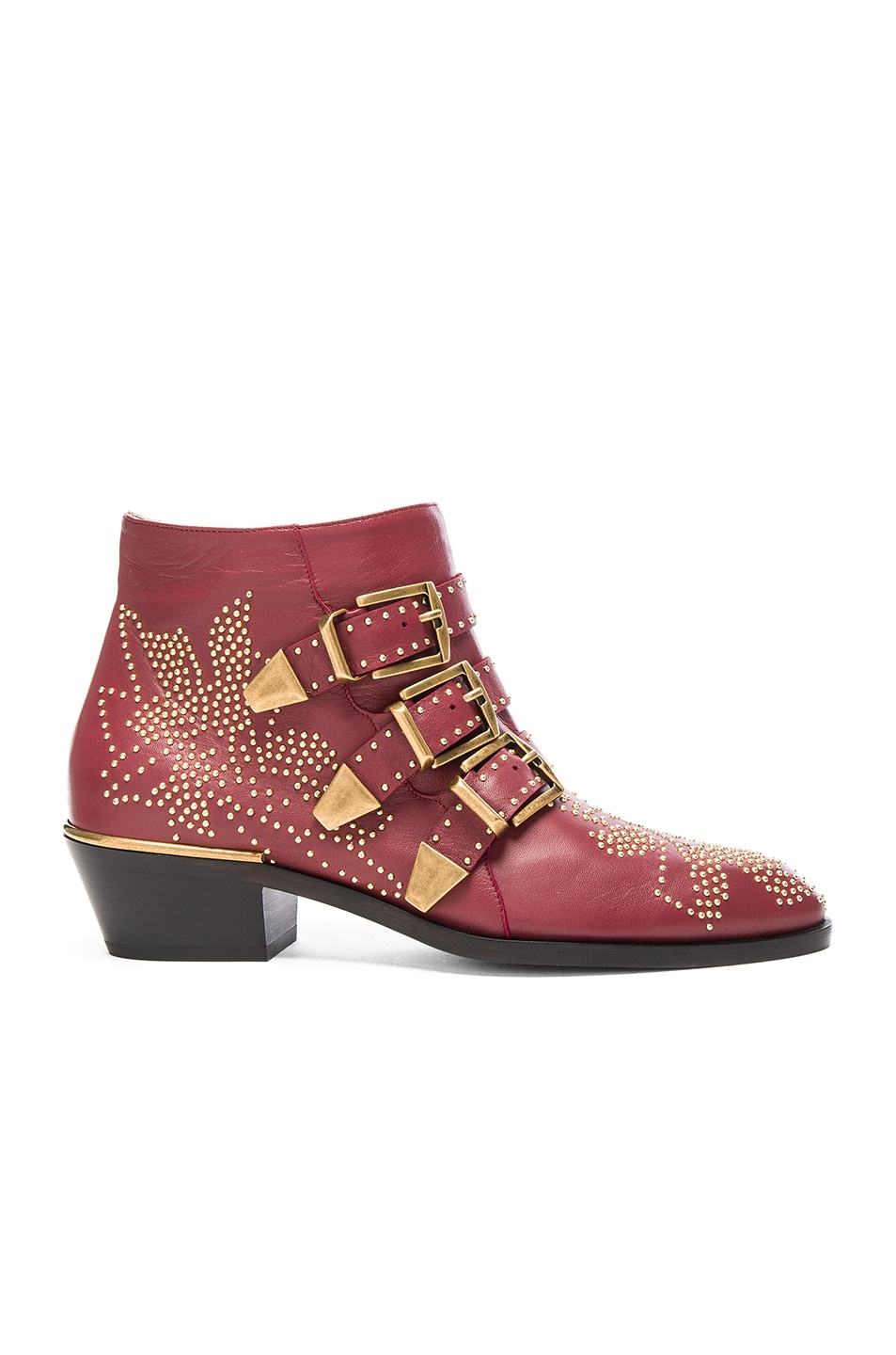 Image 1 of Chloe Susanna Leather Studded Booties in Cherry Syrup