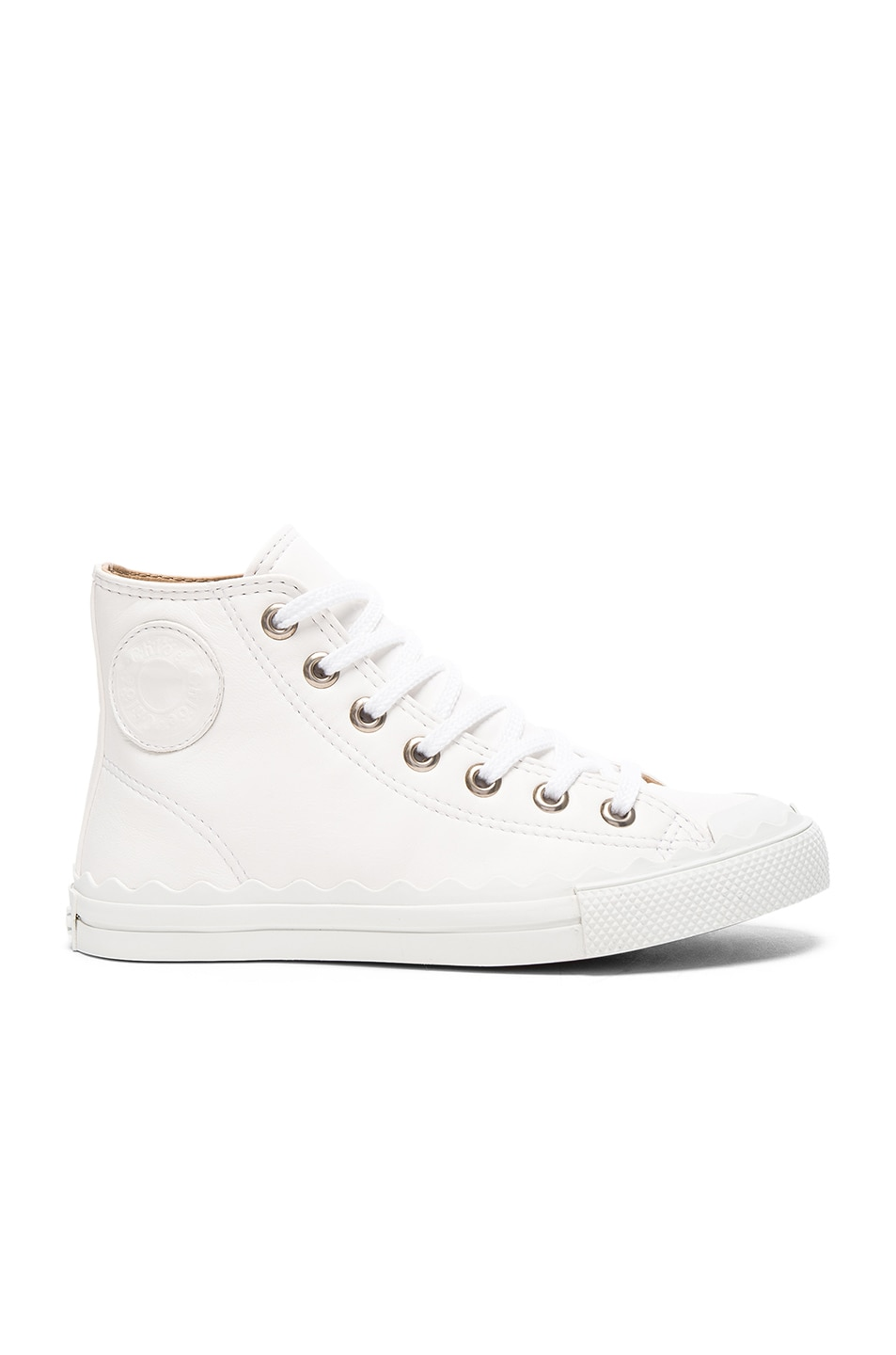 Image 1 of Chloe Leather Kyle Sneakers in White