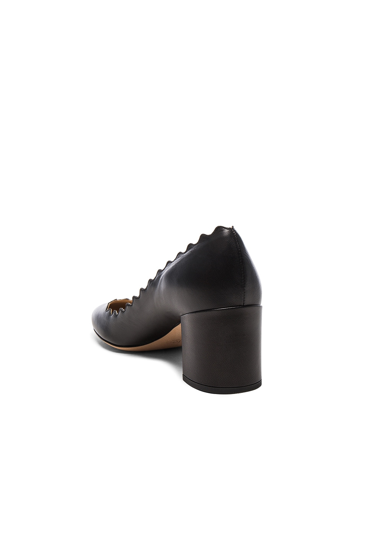 Image 3 of Chloe Lauren Leather Scallop Pumps in Black