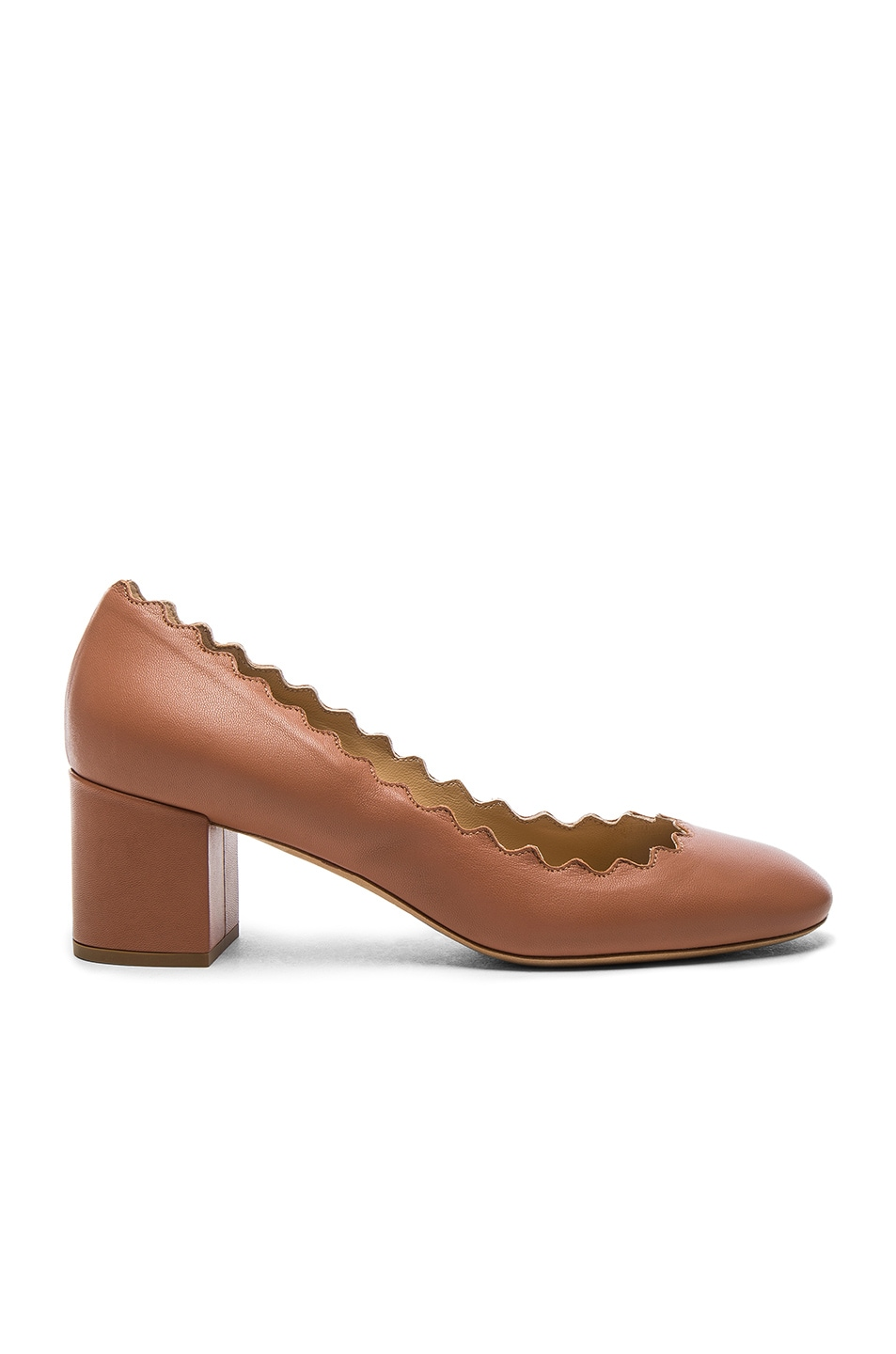 Image 1 of Chloe Lauren Leather Scallop Pumps in Blush Pink