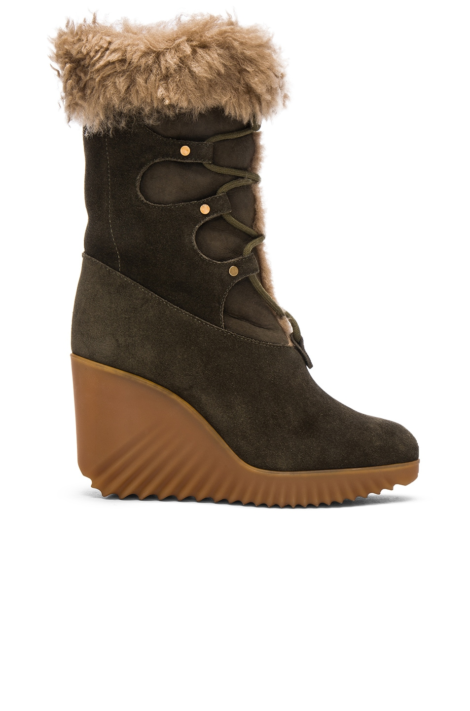 Image 1 of Chloe Suede Foster Wedge Boots in Dark Khaki