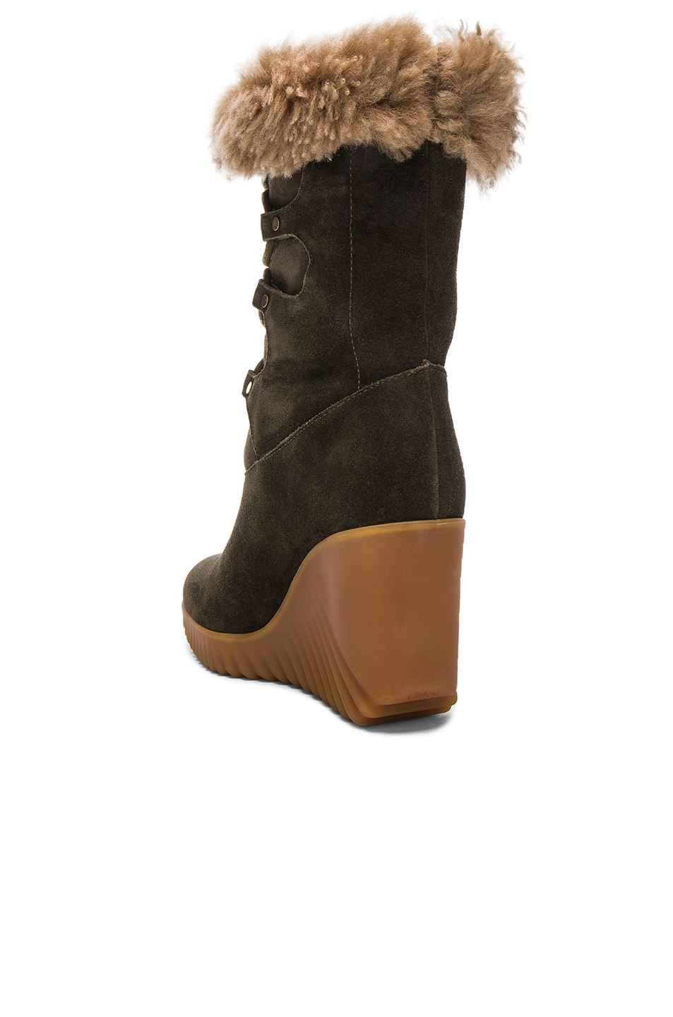 Image 3 of Chloe Suede Foster Wedge Boots in Dark Khaki
