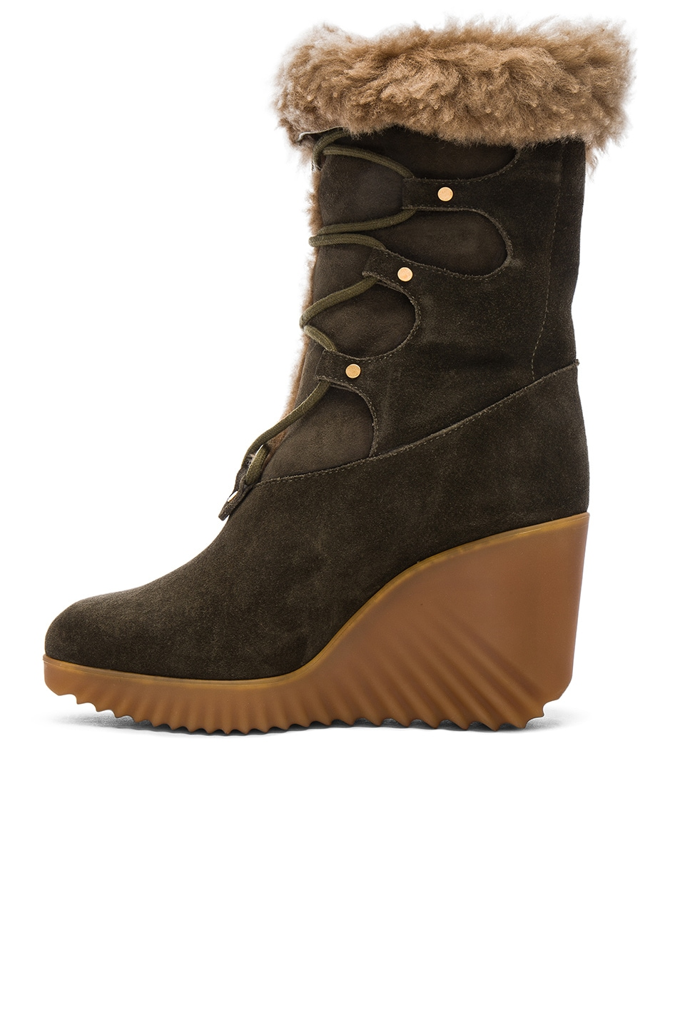 Image 5 of Chloe Suede Foster Wedge Boots in Dark Khaki
