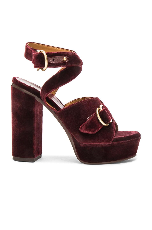 Image 1 of Chloe Velvet Kingsley Sandals in Bordeaux