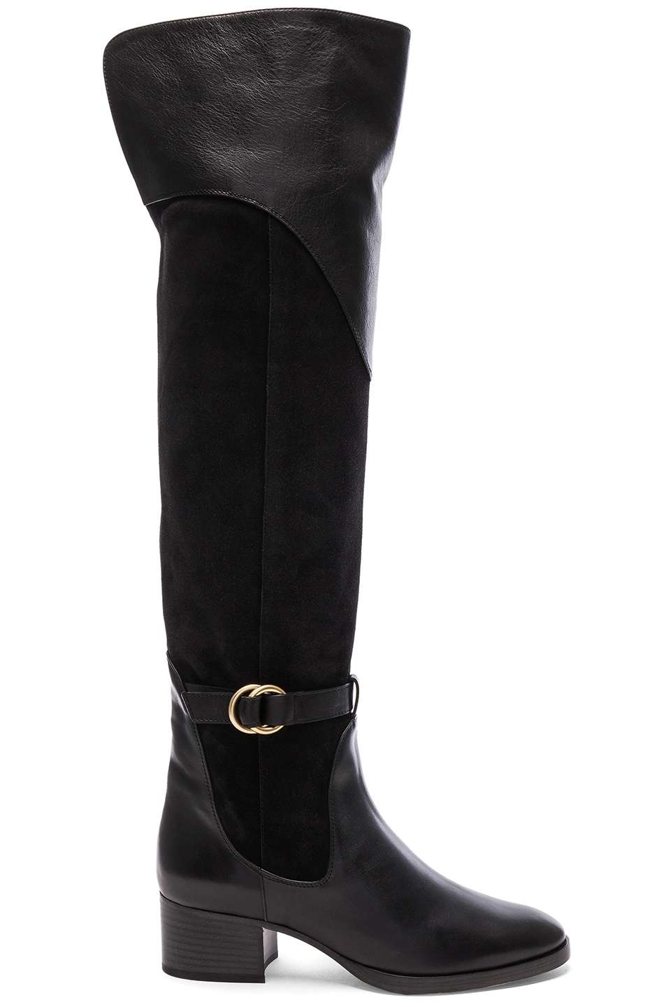 Image 1 of Chloe Suede Lenny Over the Knee Boots in Charcoal Grey