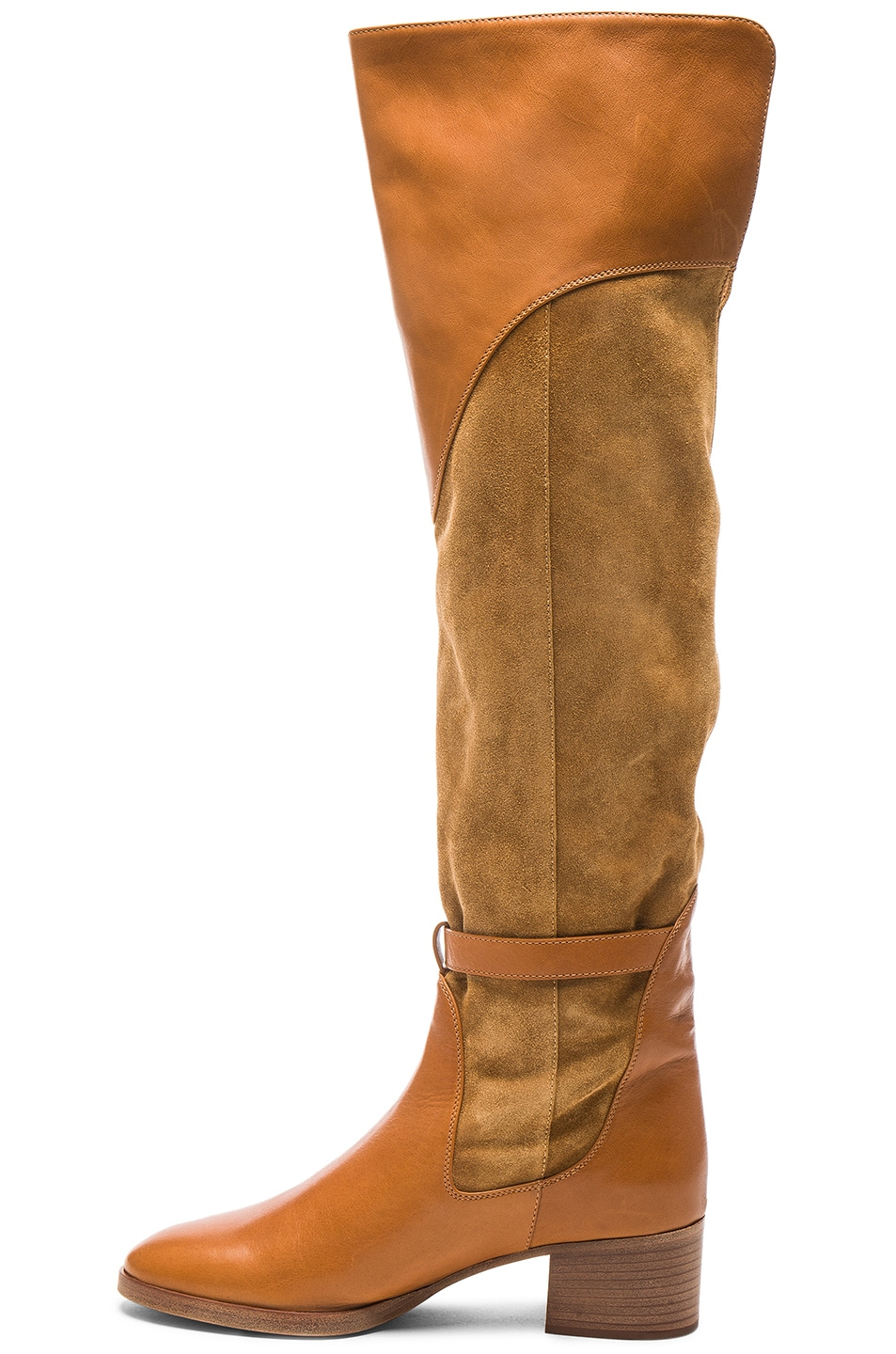 Image 5 of Chloe Suede Lenny Over the Knee Boots in Dune