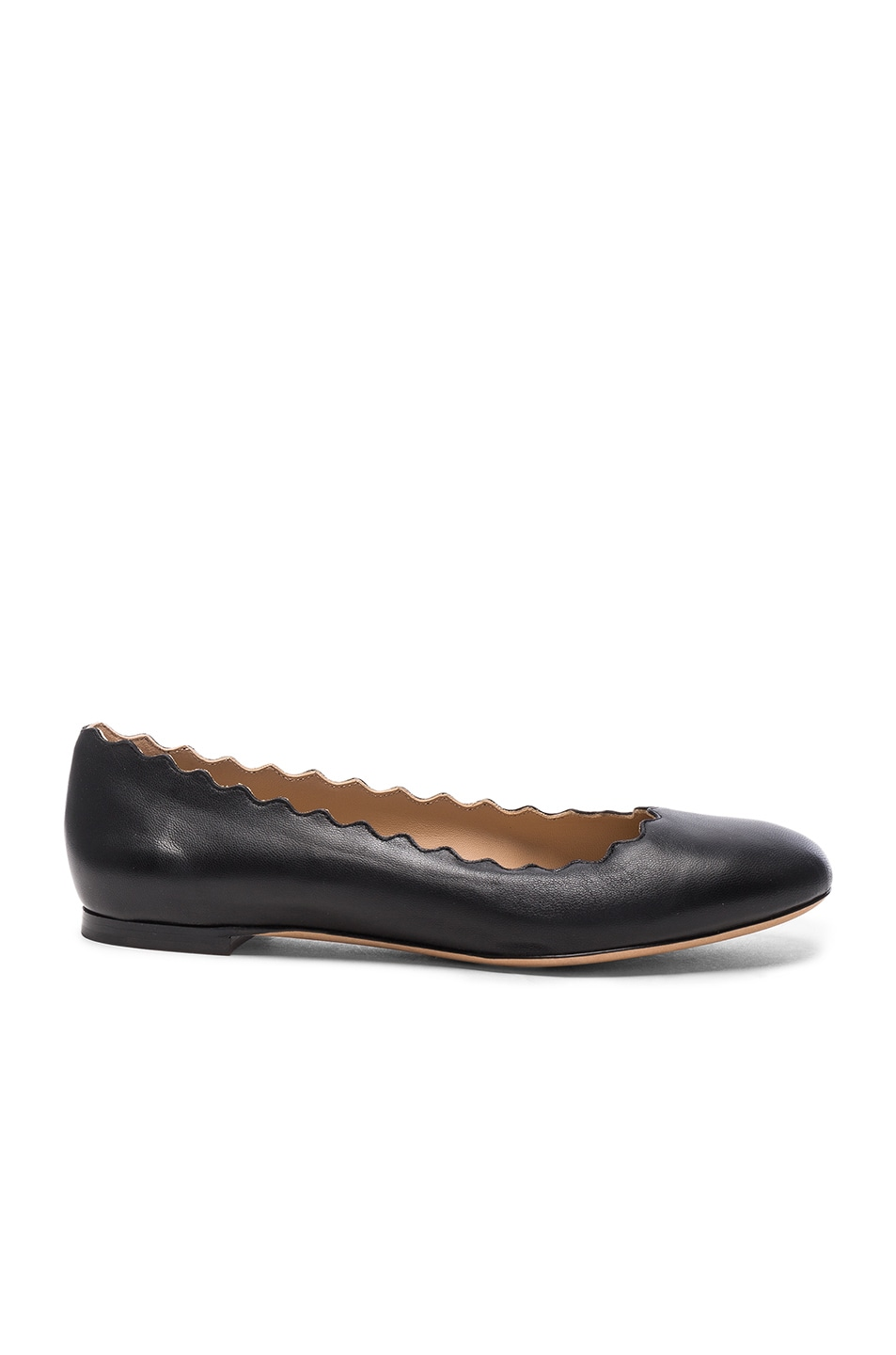 Image 1 of Chloe Lauren Leather Flats in Black