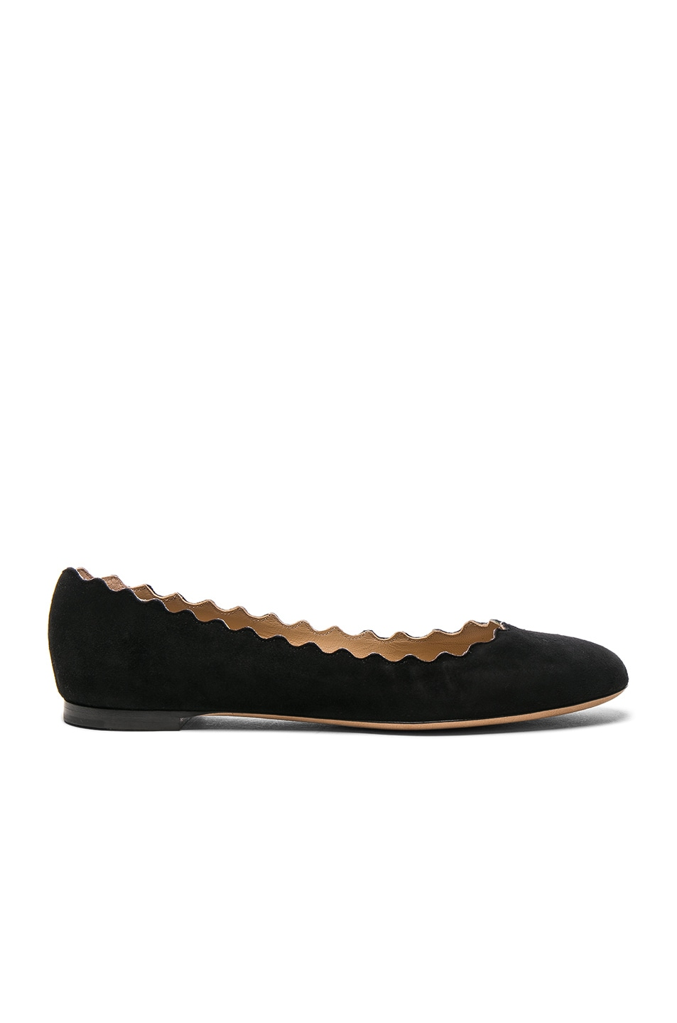 Image 1 of Chloe Suede Lauren Flats in Black
