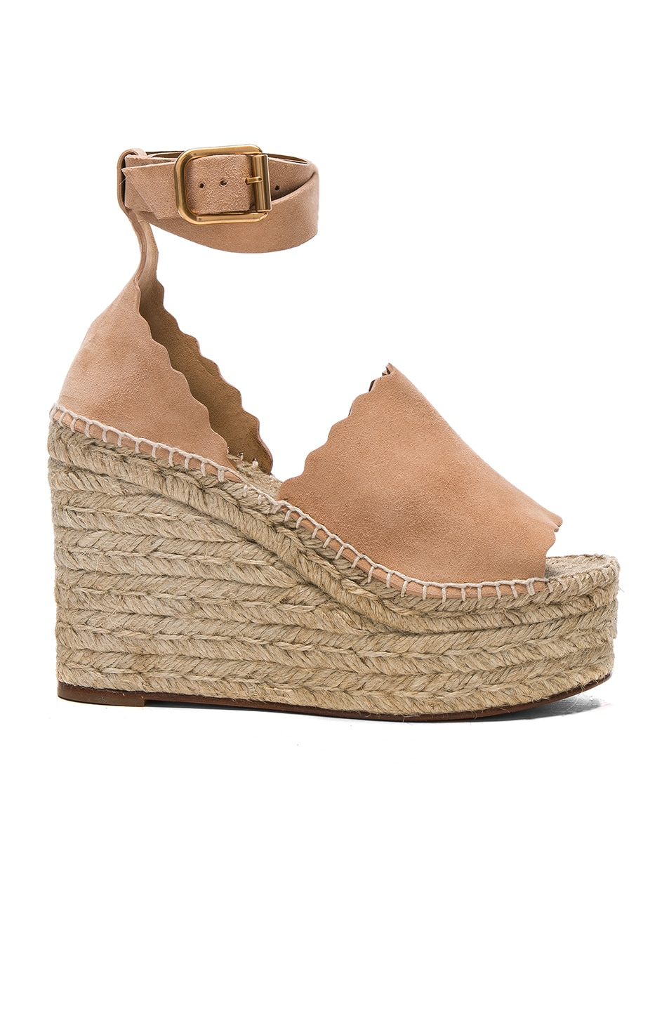 Image 1 of Chloe Suede Lauren Espadrille Wedges in Reef Shell