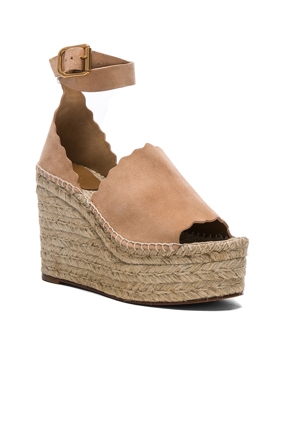 Image 2 of Chloe Suede Lauren Espadrille Wedges in Reef Shell