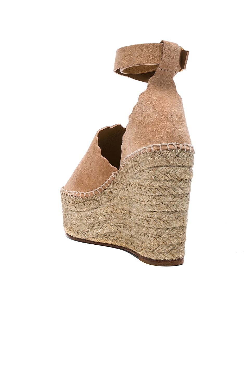 Image 3 of Chloe Suede Lauren Espadrille Wedges in Reef Shell