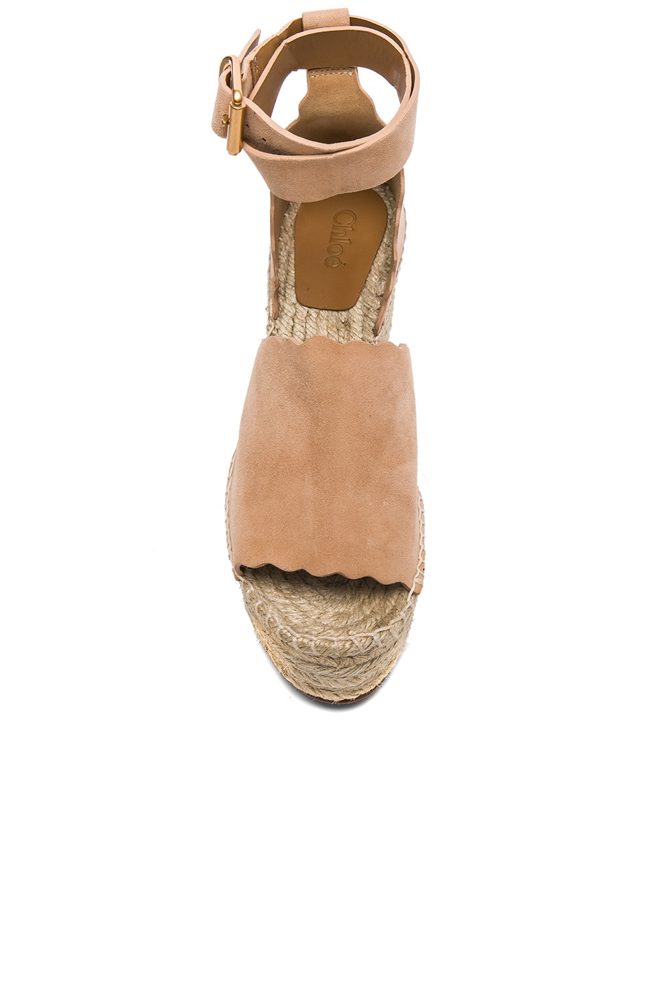Image 4 of Chloe Suede Lauren Espadrille Wedges in Reef Shell