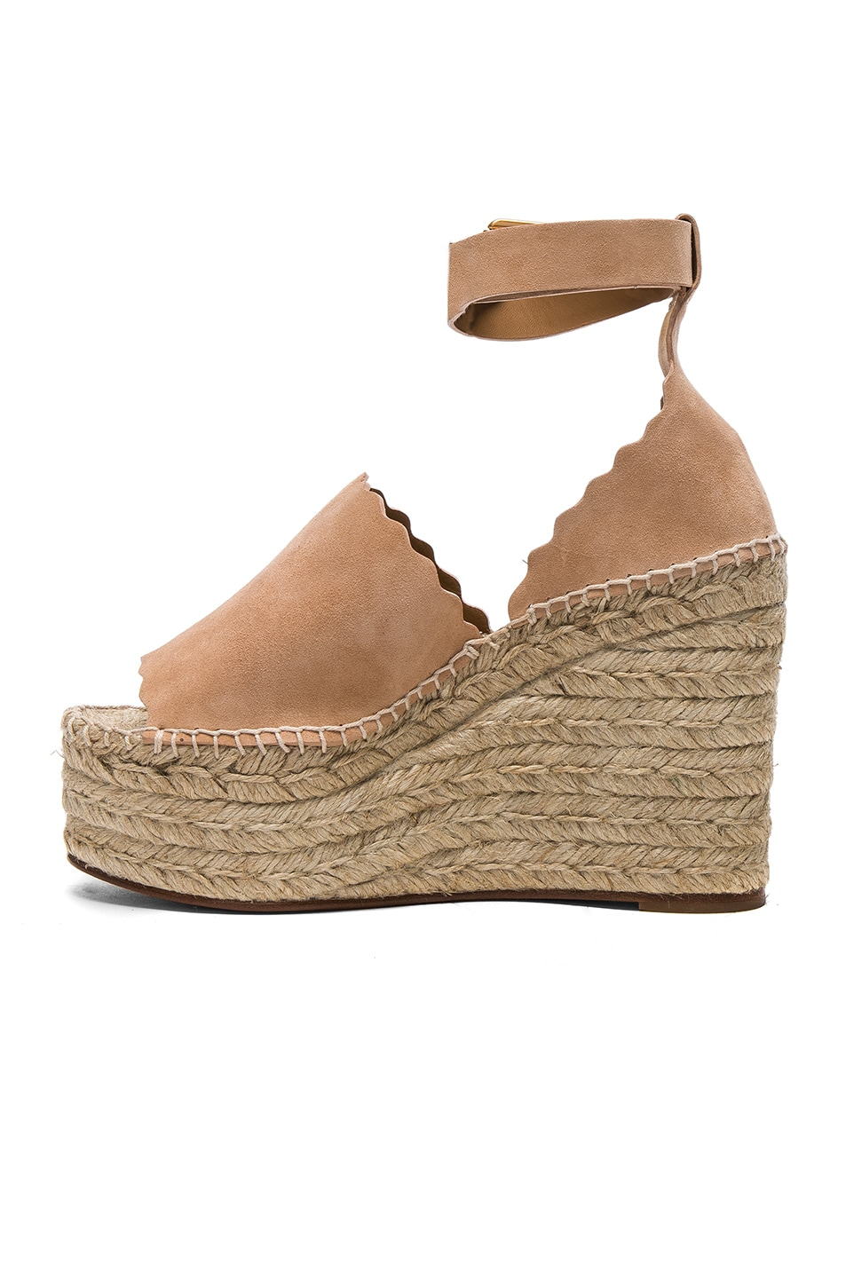 Image 5 of Chloe Suede Lauren Espadrille Wedges in Reef Shell