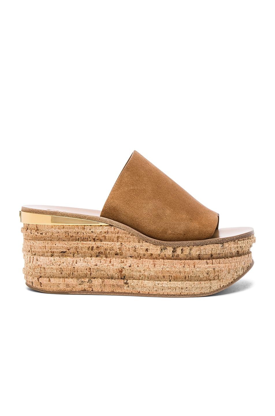Image 1 of Chloe Suede Camille Wedge Sandals in Cappuccino