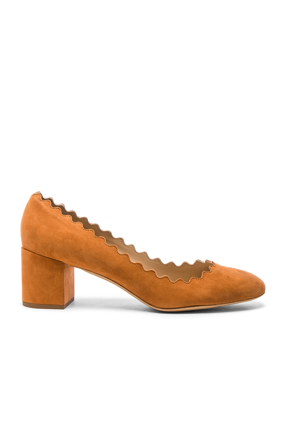 Image 1 of Chloe Suede Lauren Heels in Ochre
