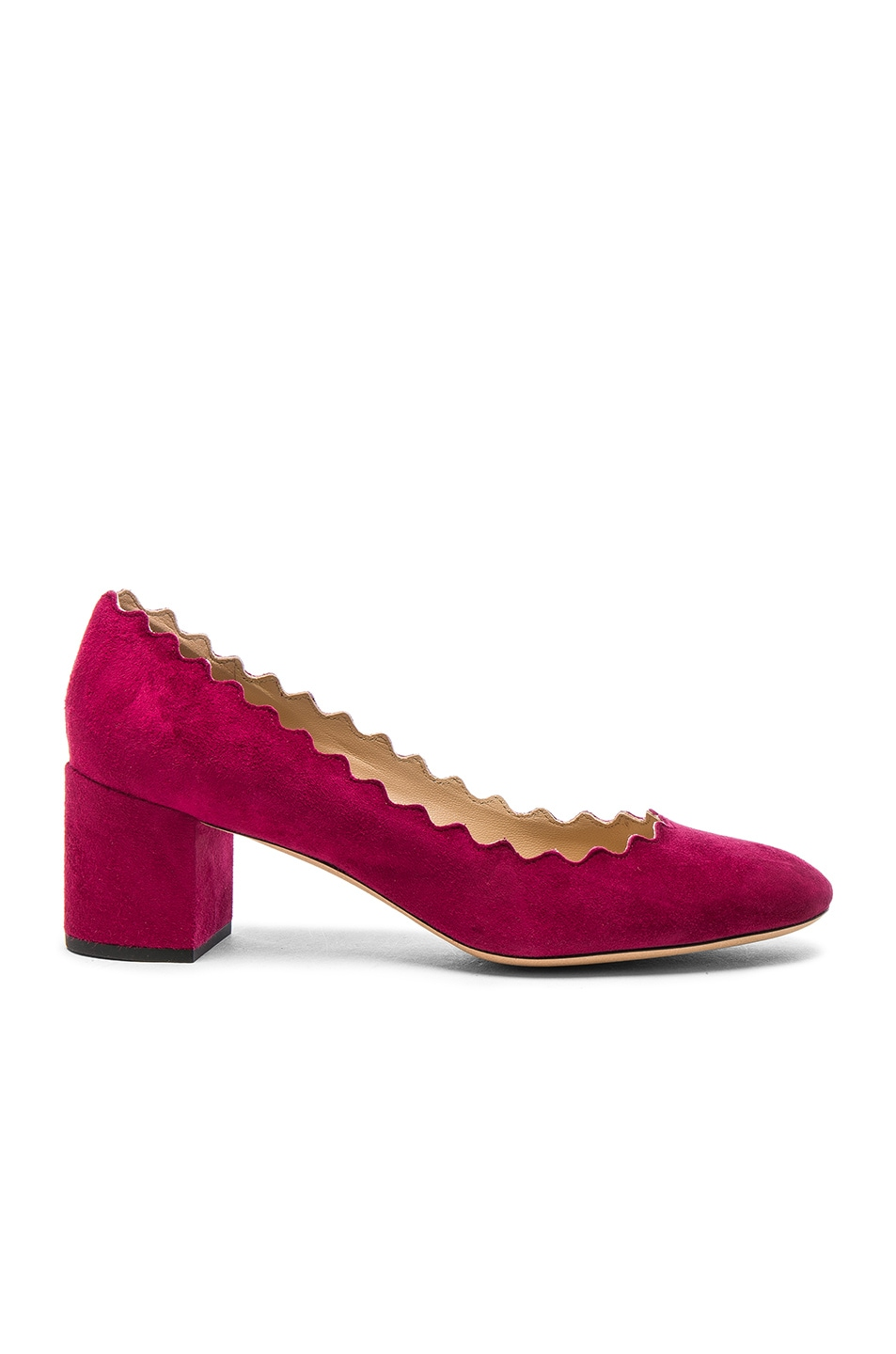 Image 1 of Chloe Suede Lauren Heels in Red Orchid