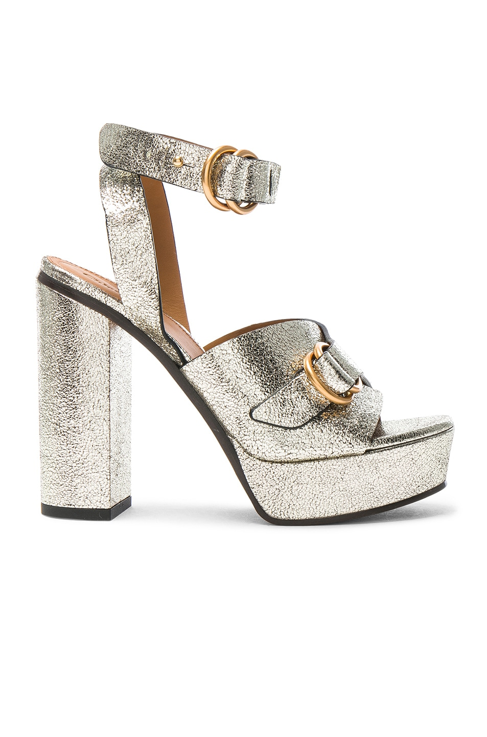Image 1 of Chloe Cracked Leather Kingsley Sandals in Gray Glitter
