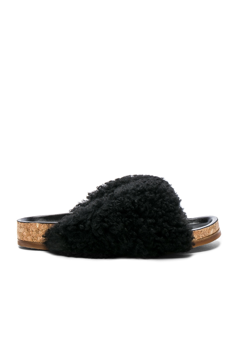 Image 1 of Chloe Shearling Fur Kerenn Sandals in Black