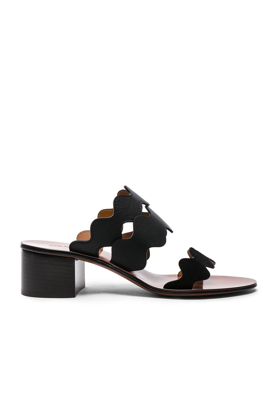 Image 1 of Chloe Lauren Leather & Suede Sandals in Black