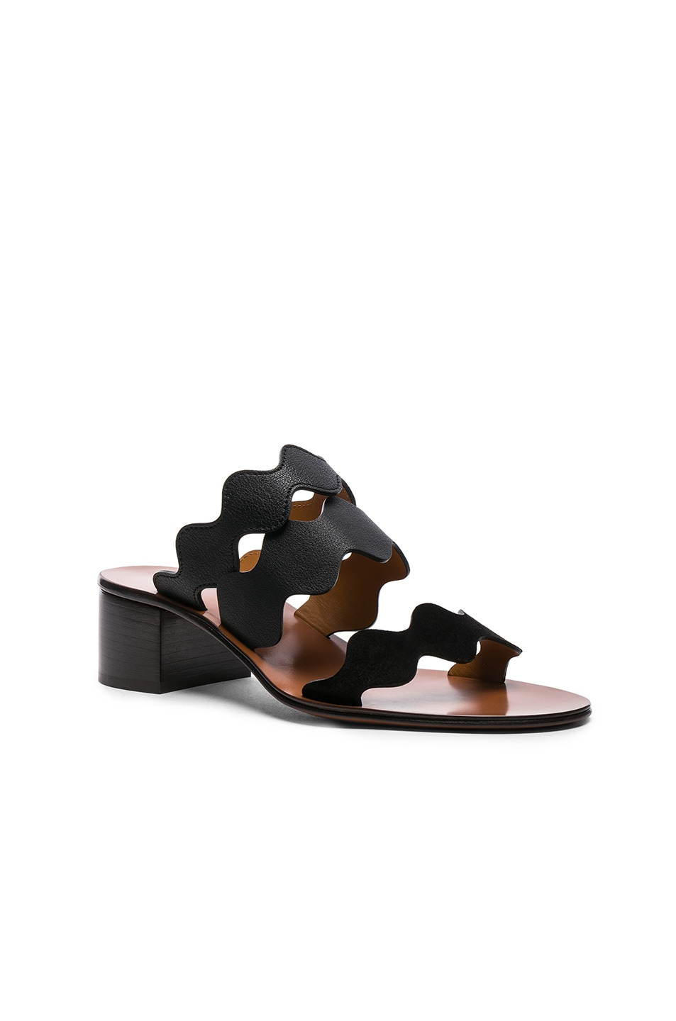 Image 2 of Chloe Lauren Leather & Suede Sandals in Black