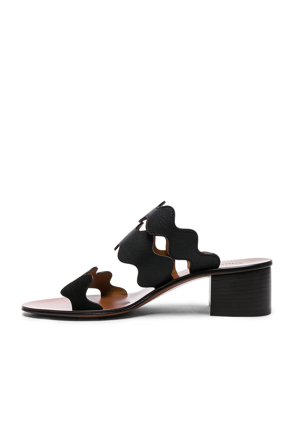 Image 5 of Chloe Lauren Leather & Suede Sandals in Black