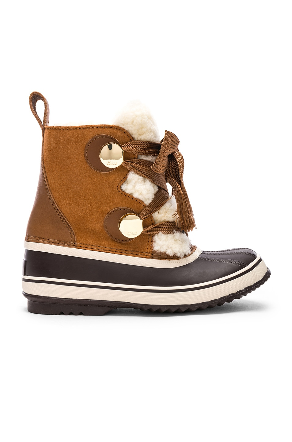 CHLOE X SOREL SHEARLING & SUEDE HIKING BOOTS IN BROWN