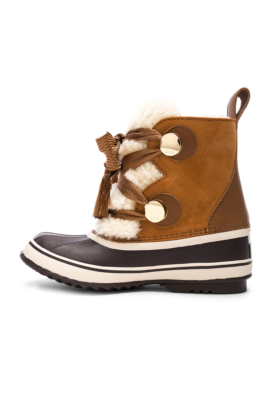 Chloé X Sorel Shearling & Suede Hiking Boots in . bE9VTcR