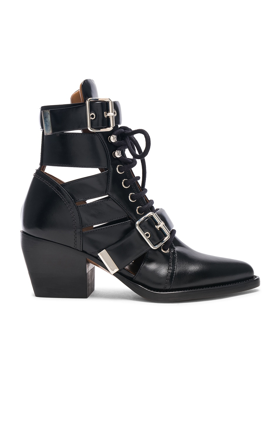 Image 1 of Chloe Rylee Leather Lace Up Buckle Boots in Black