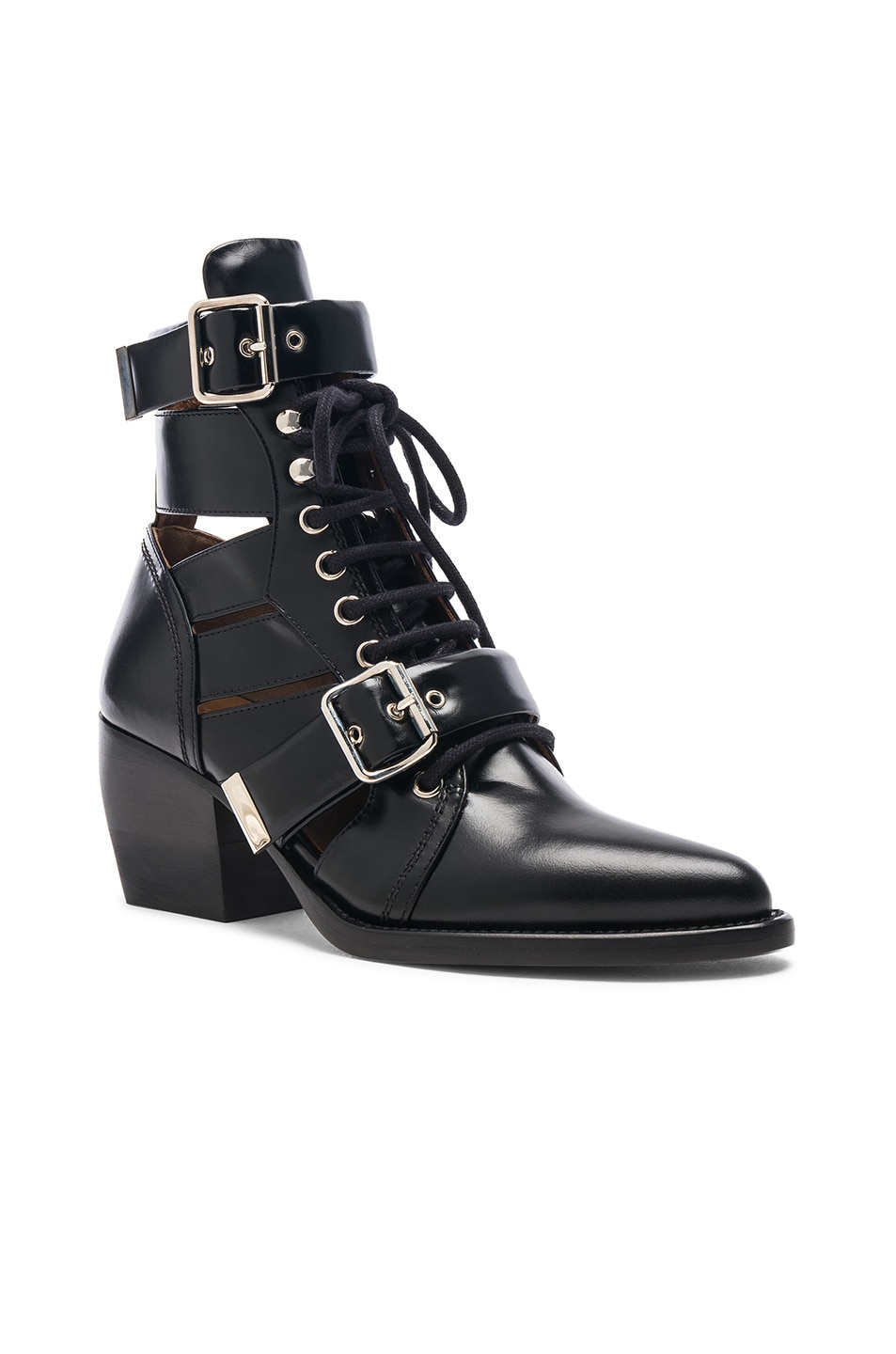 Image 2 of Chloe Rylee Leather Lace Up Buckle Boots in Black