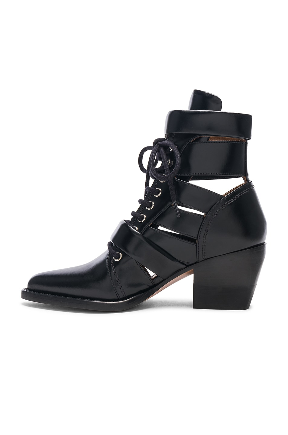 Image 5 of Chloe Rylee Leather Lace Up Buckle Boots in Black