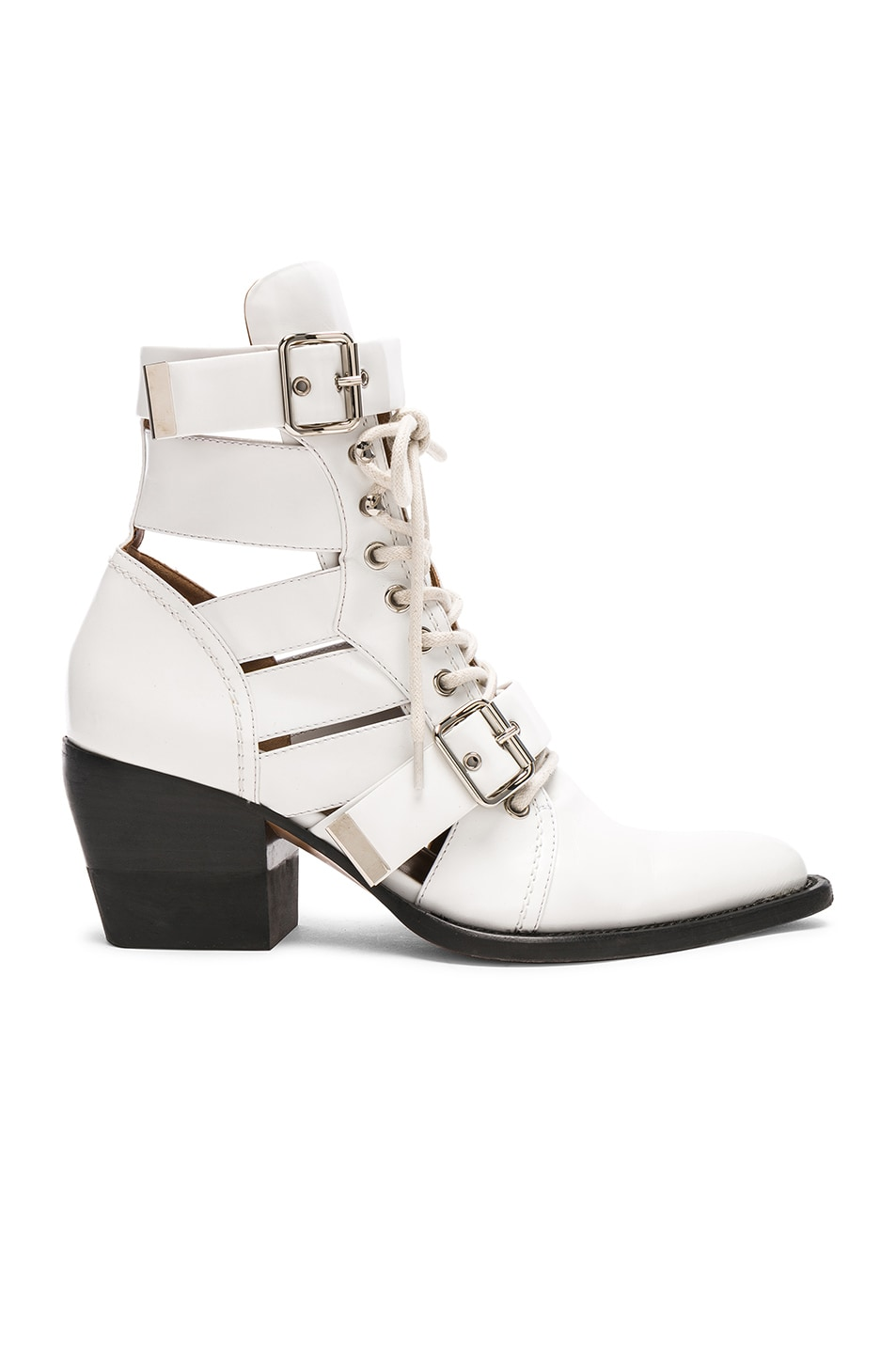 Image 1 of Chloe Leather Rylee Lace Up Buckle Boots in White