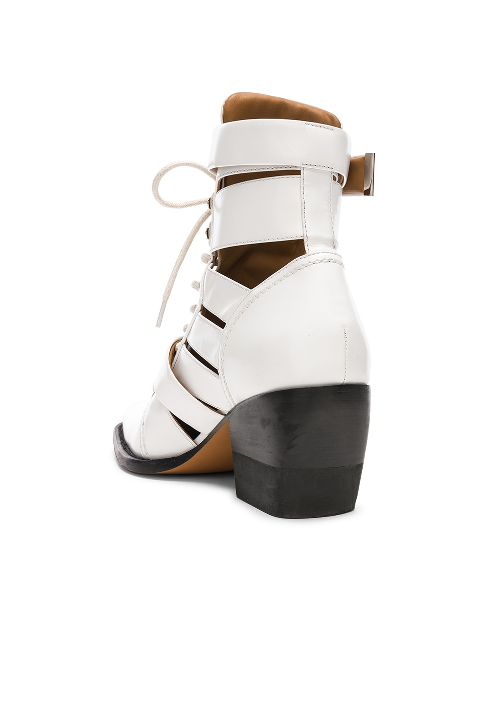 Image 3 of Chloe Leather Rylee Lace Up Buckle Boots in White