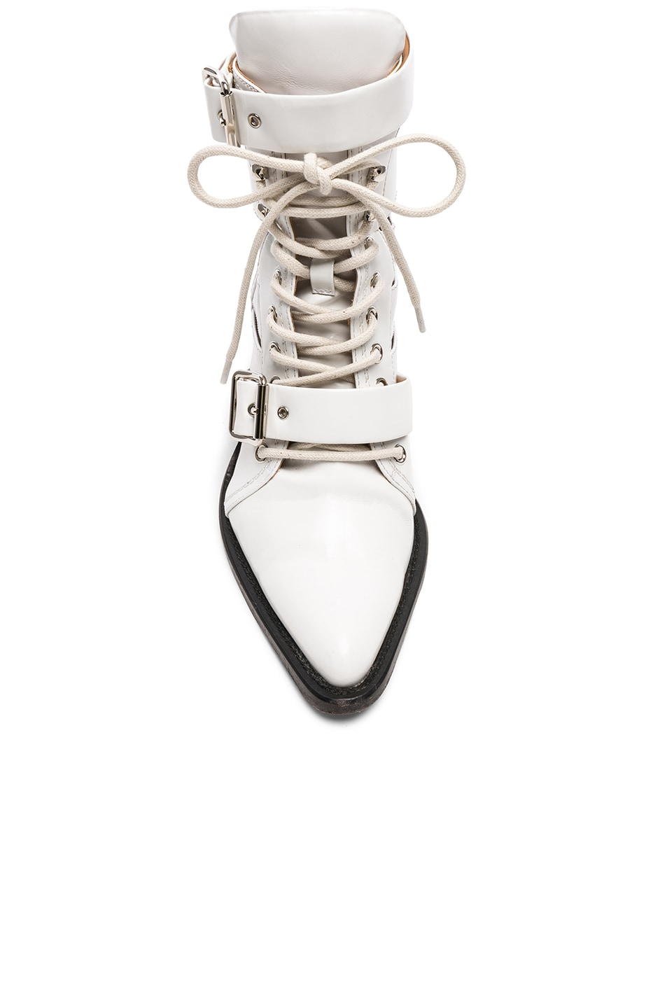 Image 4 of Chloe Leather Rylee Lace Up Buckle Boots in White
