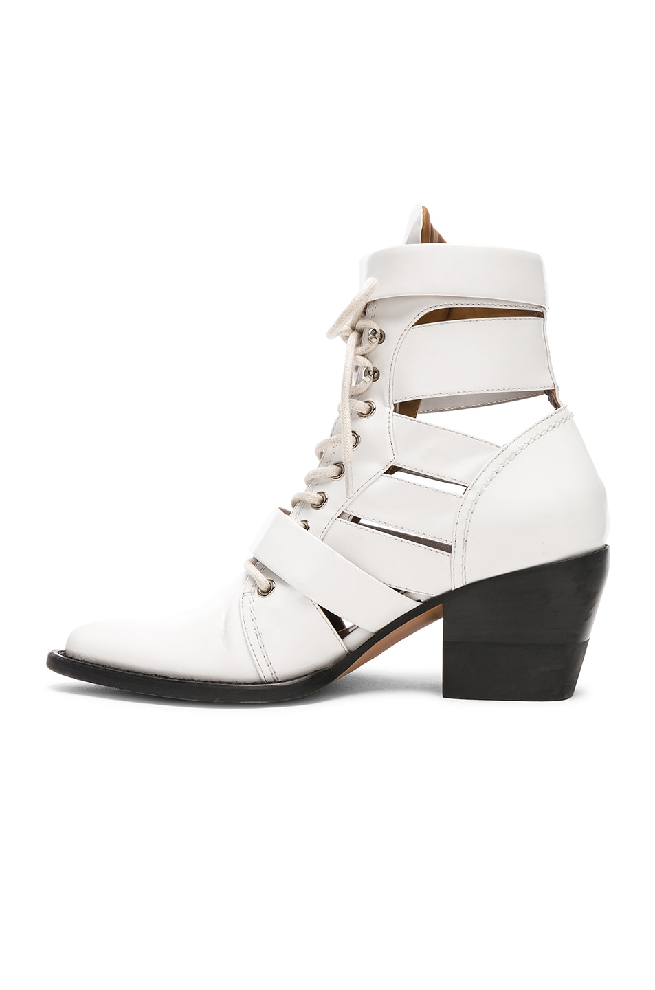 Image 5 of Chloe Leather Rylee Lace Up Buckle Boots in White