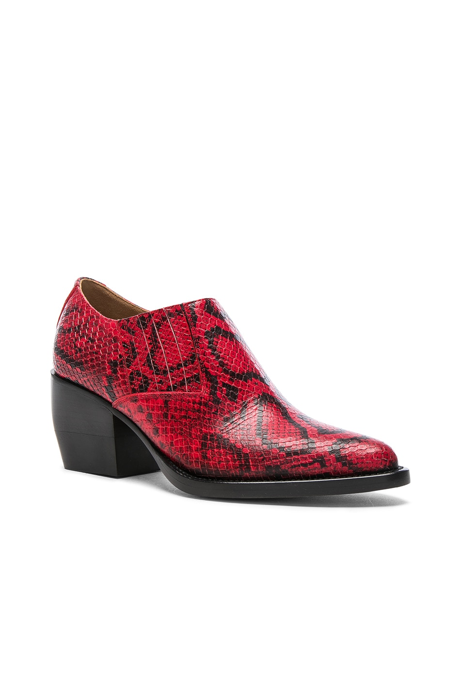 Image 2 of Chloe Rylee Python Print Leather Ankle Boots in Gypsy Red