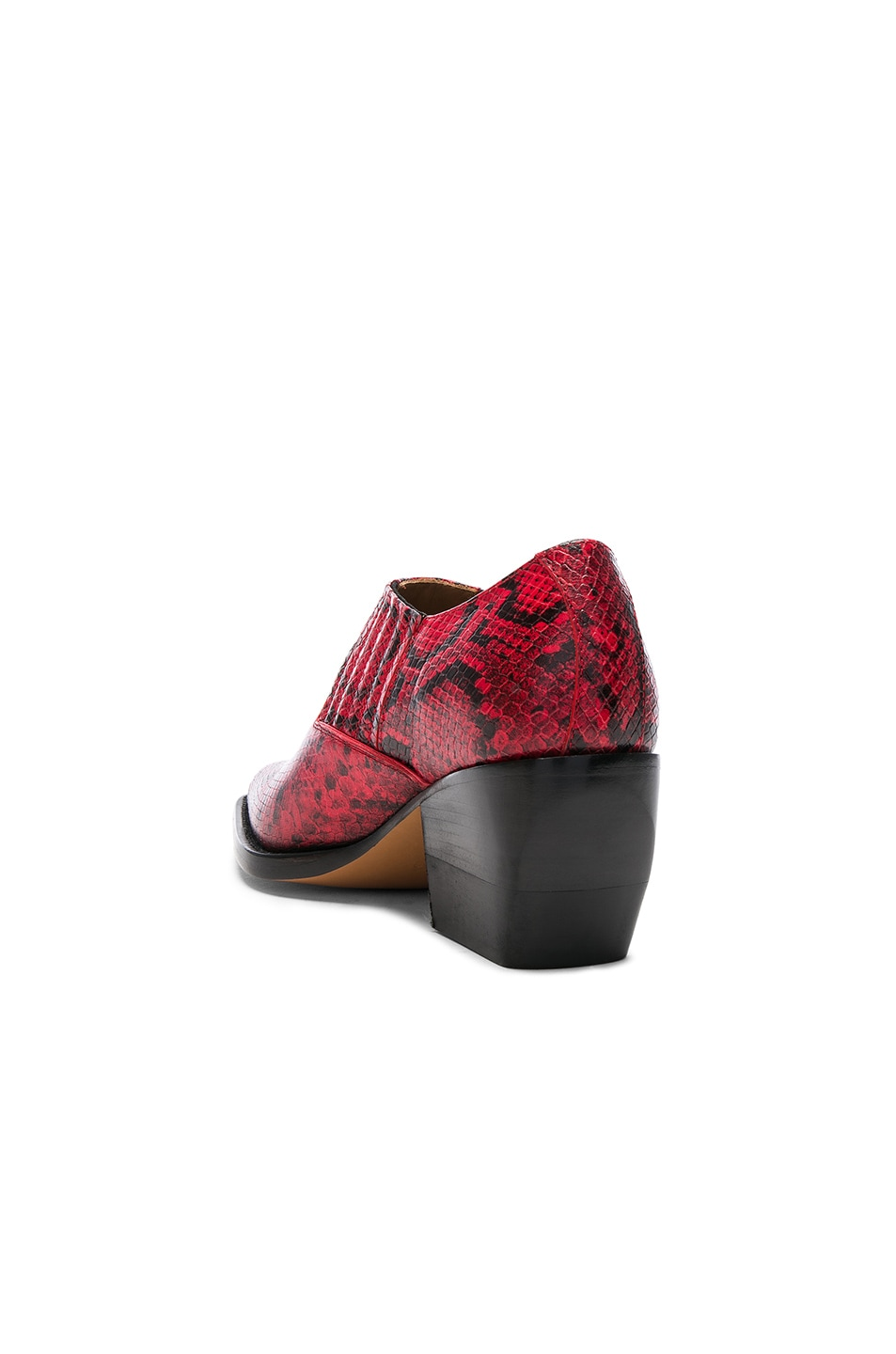 Image 3 of Chloe Rylee Python Print Leather Ankle Boots in Gypsy Red