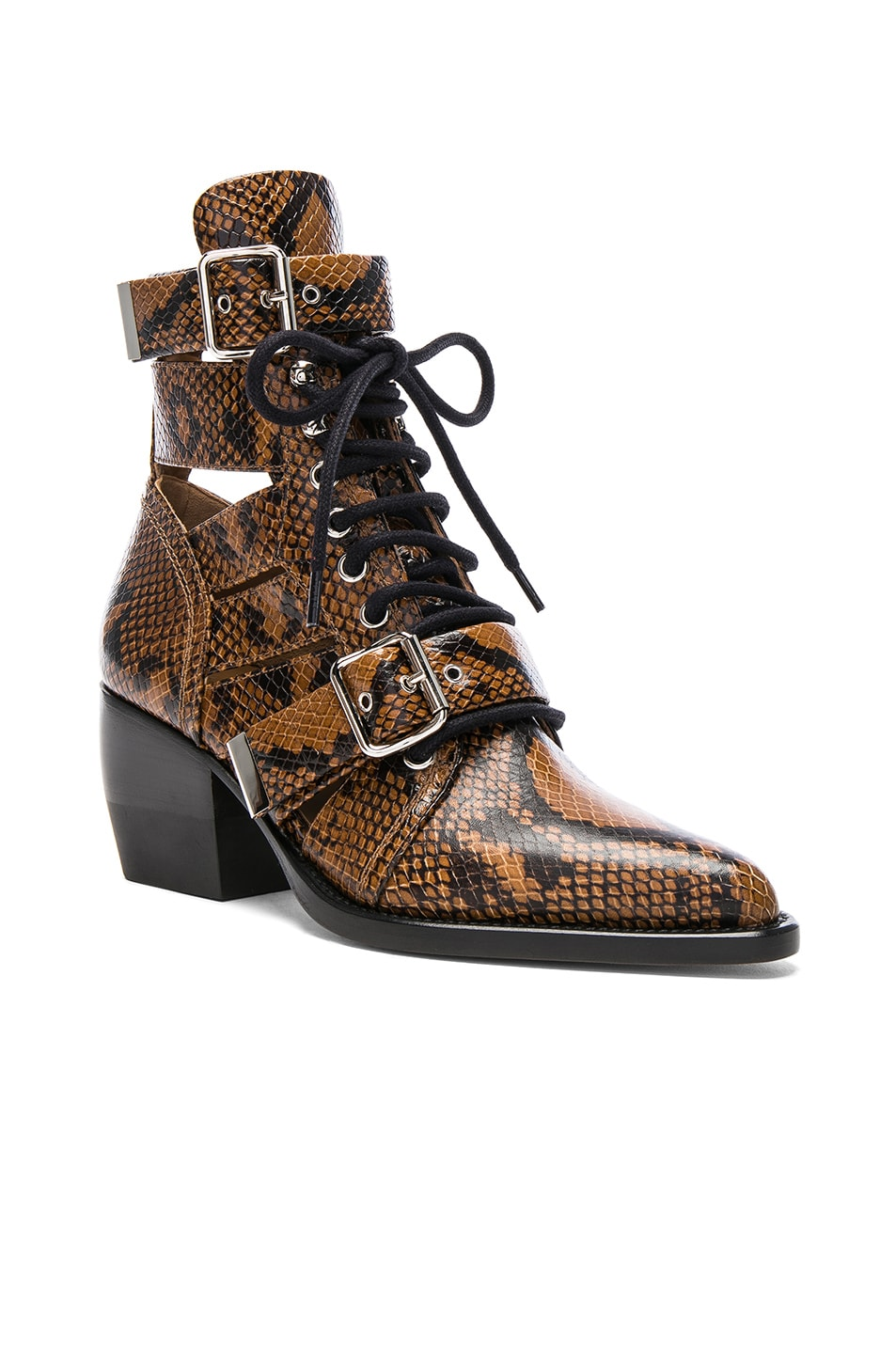 Image 2 of Chloe Rylee Python Print Leather Lace Up Buckle Boots in Light Tan