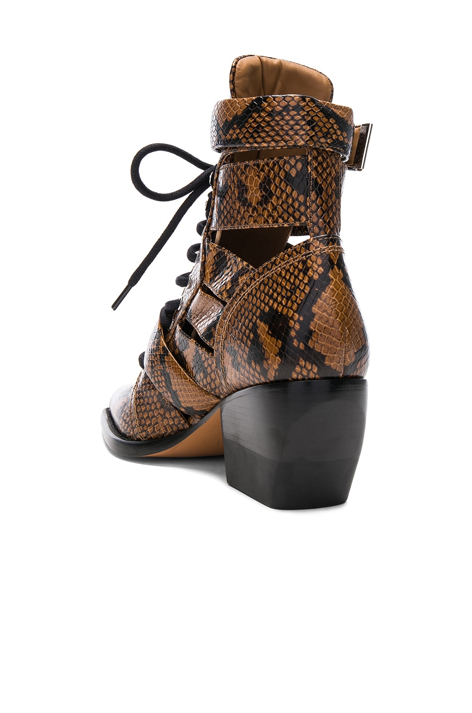 Image 3 of Chloe Rylee Python Print Leather Lace Up Buckle Boots in Light Tan