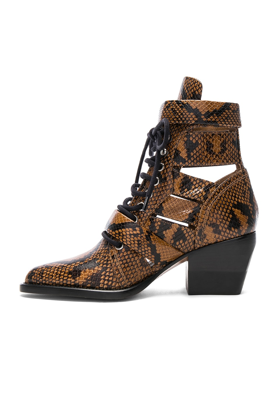 Image 5 of Chloe Rylee Python Print Leather Lace Up Buckle Boots in Light Tan