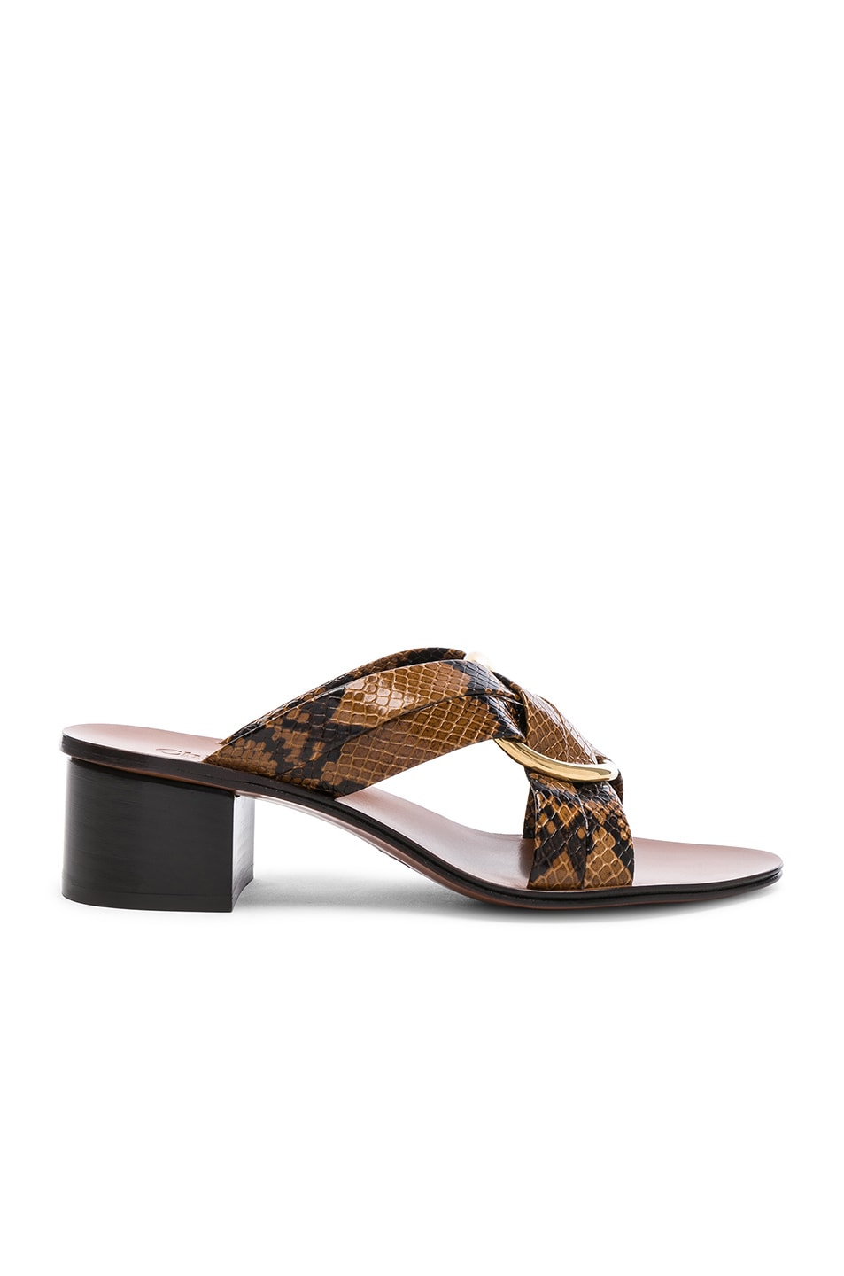 Image 1 of Chloe Rony Python Print Leather Cross Strap Mules in Light Tan