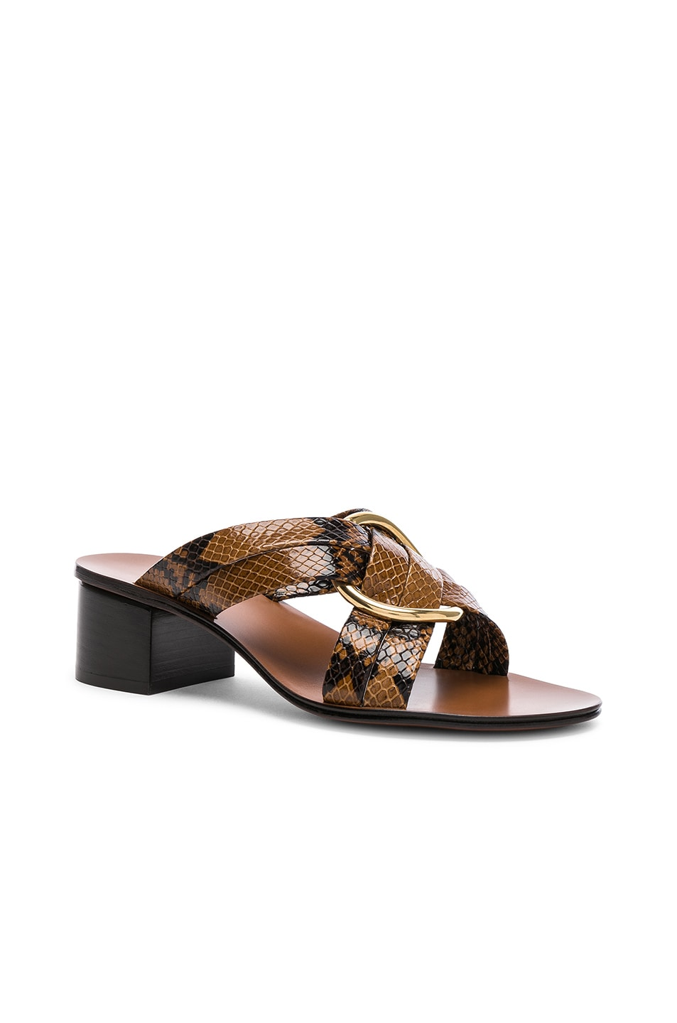 Image 2 of Chloe Rony Python Print Leather Cross Strap Mules in Light Tan