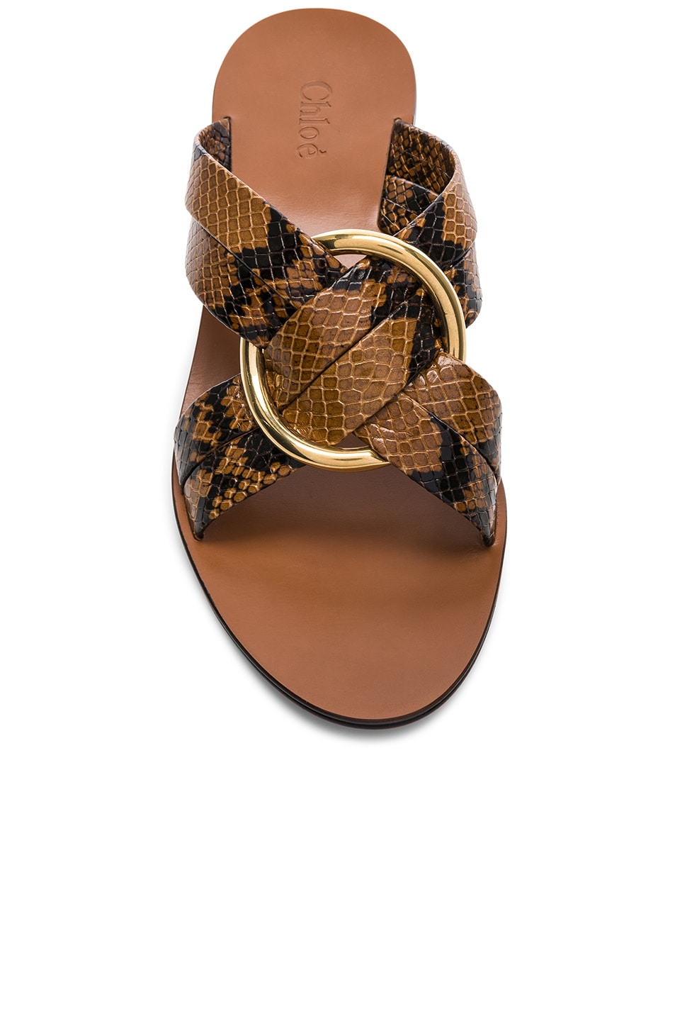 Image 4 of Chloe Rony Python Print Leather Cross Strap Mules in Light Tan