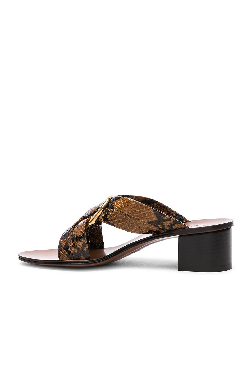 Image 5 of Chloe Rony Python Print Leather Cross Strap Mules in Light Tan