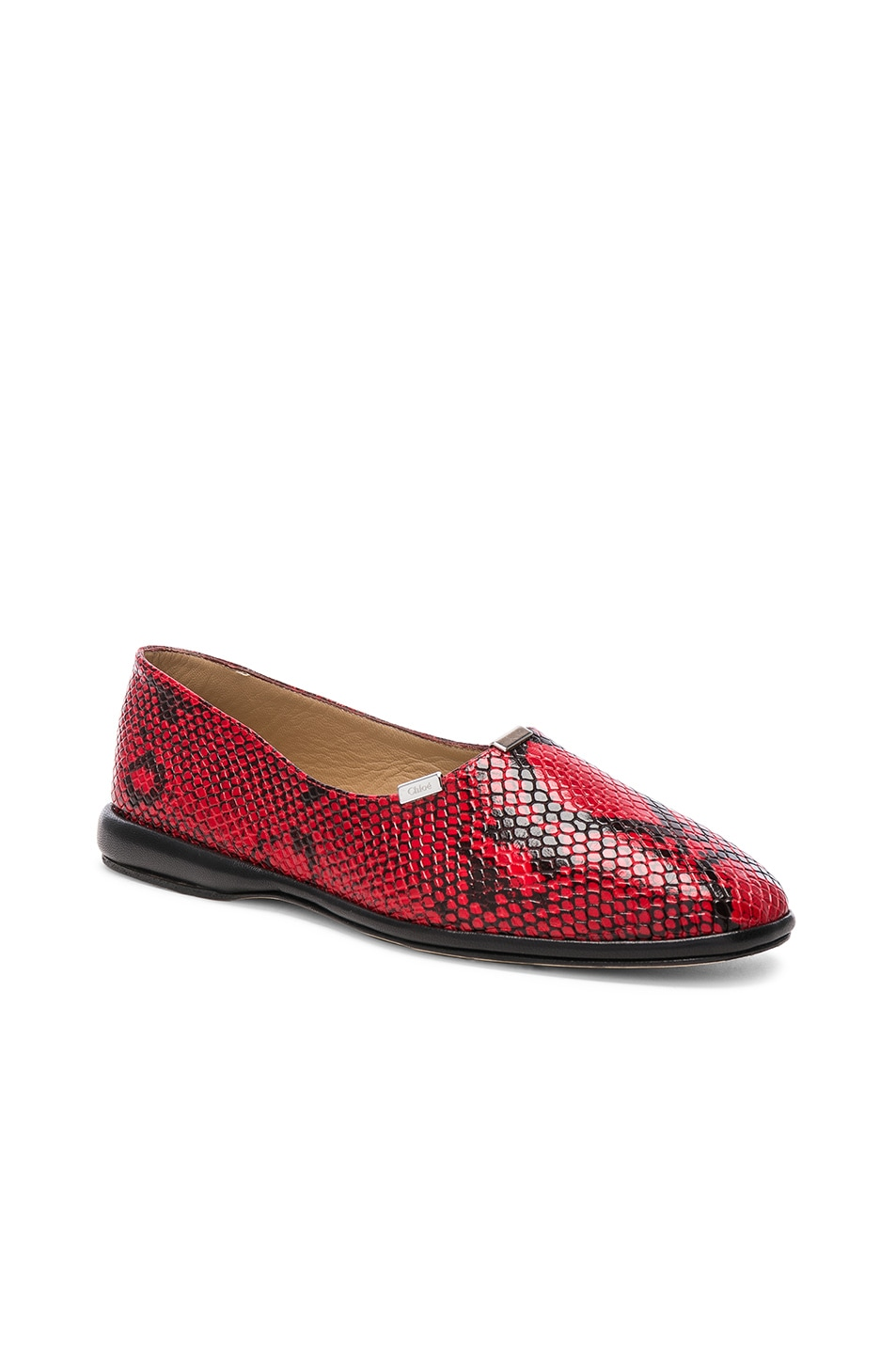 Image 2 of Chloe Skye Python Print Leather Flats in Gypsy Red