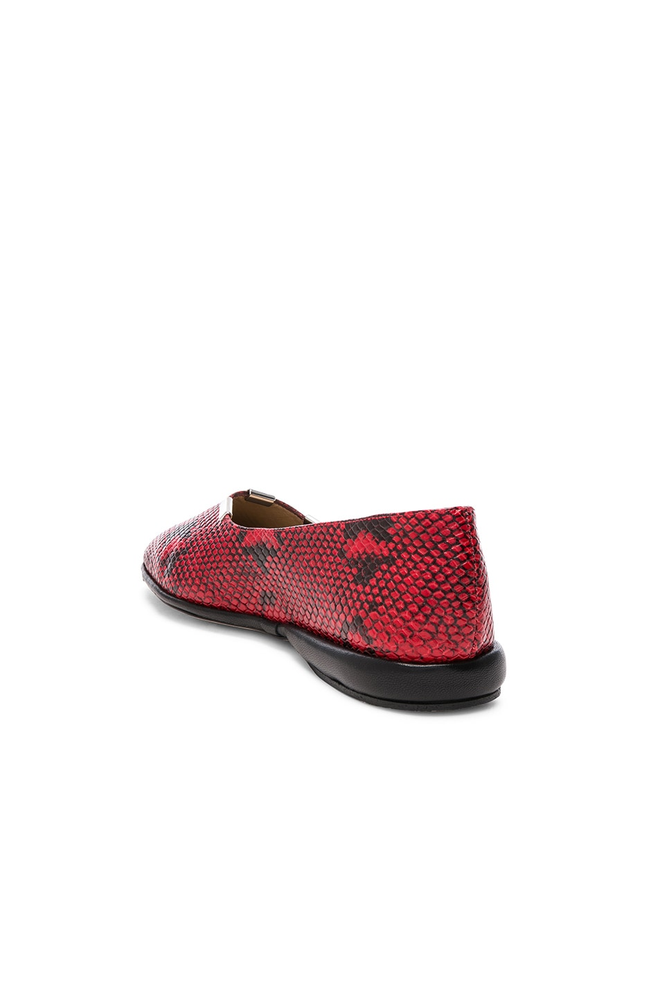 Image 3 of Chloe Skye Python Print Leather Flats in Gypsy Red