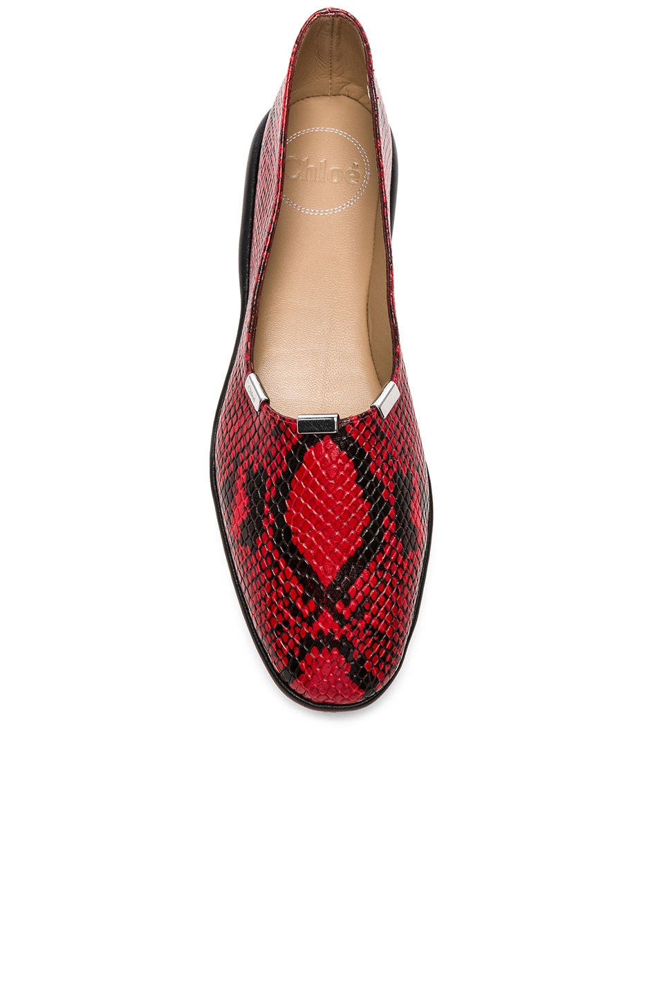 Image 4 of Chloe Skye Python Print Leather Flats in Gypsy Red