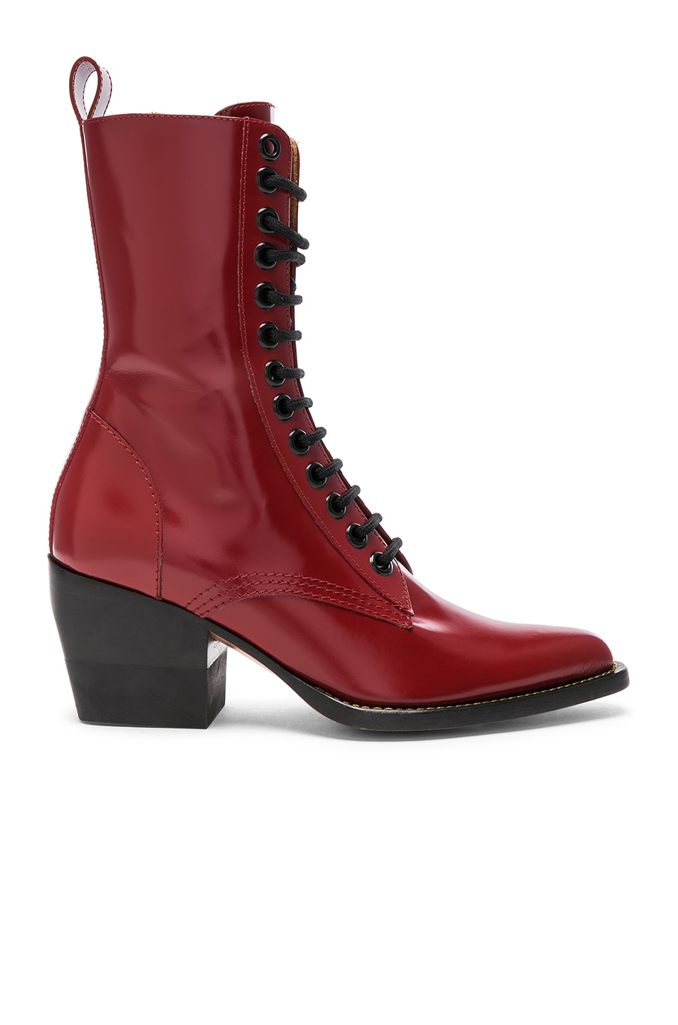 Image 1 of Chloe Rylee Shiny Leather Lace Up Buckle Boots in Intense Red