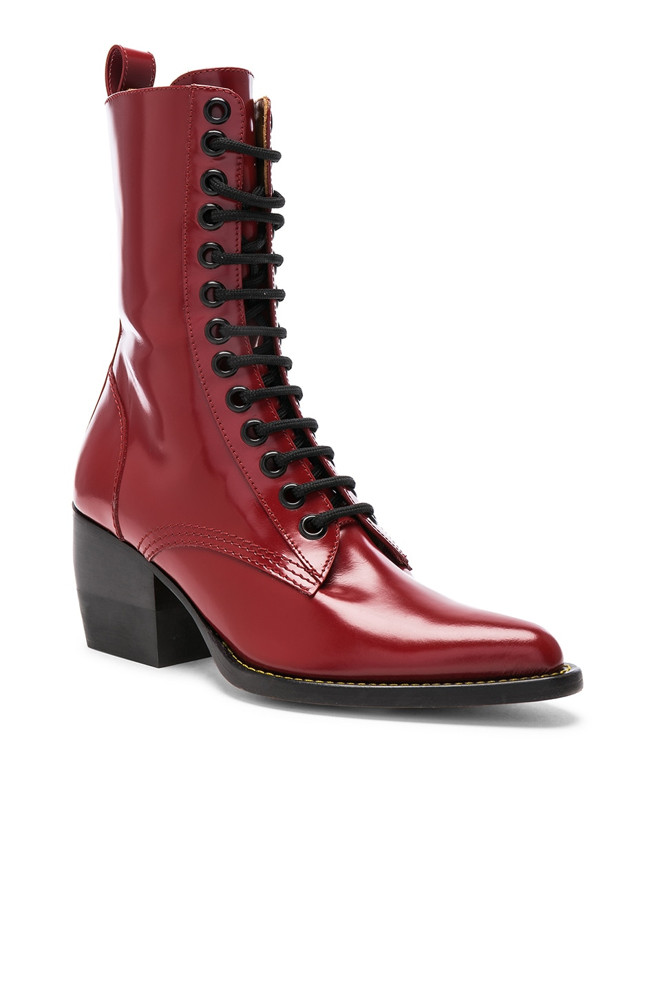 Image 2 of Chloe Rylee Shiny Leather Lace Up Buckle Boots in Intense Red