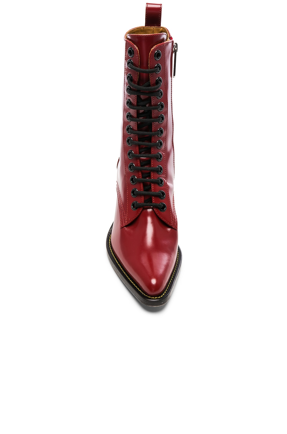 Image 4 of Chloe Rylee Shiny Leather Lace Up Buckle Boots in Intense Red