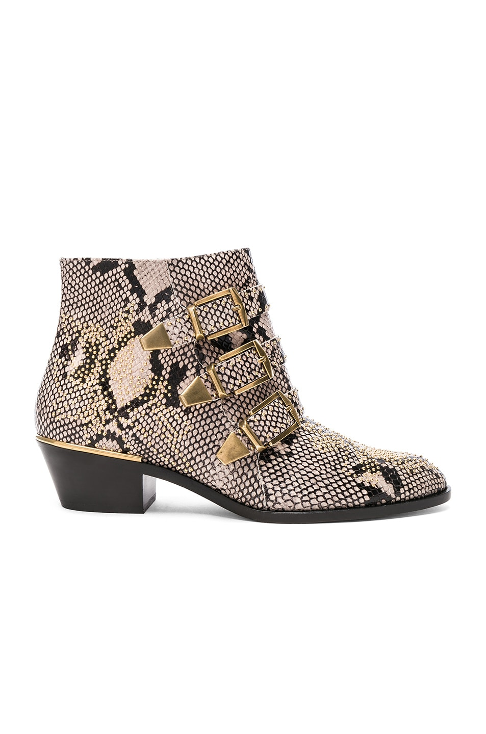 Image 1 of Chloe Susanna Python Print Leather Studded Ankle Boots in Eternal Grey